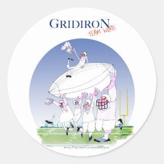 Gridiron teamwork, tony fernandes classic round sticker