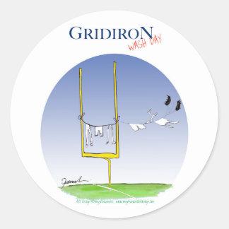 Gridiron - wash day, tony fernandes classic round sticker