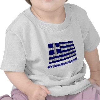 Griechenland Fliegende Flagge mit Namen T-shirt