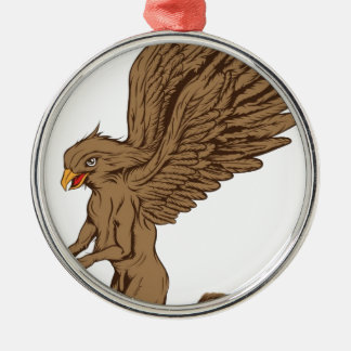 Griffin, Gryphon, or Griffon Silver-Colored Round Decoration