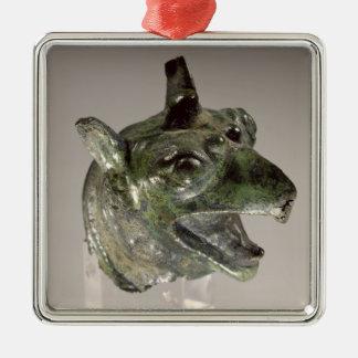 Griffin head, fragment of a cauldron attachment, f Silver-Colored square decoration