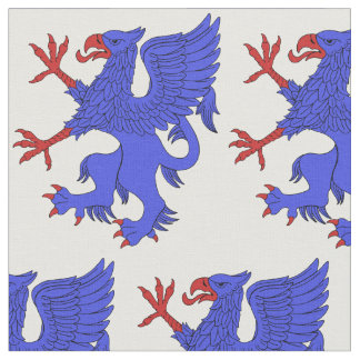 Griffin Rampant Azure Fabric