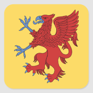 Griffin Rampant Gules Square Sticker