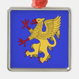 Griffin Rampant Or Silver-Colored Square Decoration