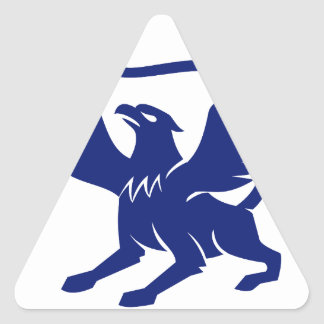 Griffin with Paintbrush Tail Icon Triangle Sticker