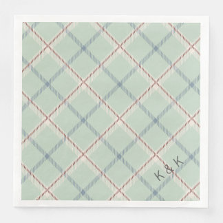 Griffith Family Tartan Plaid Check in Sage Green Disposable Serviette