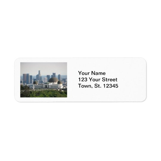 Griffith Observatory and Downtown Los Angeles Return Address Label