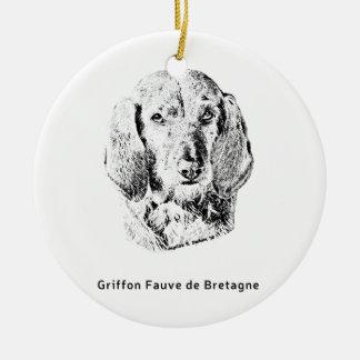 Griffon Fauve de Bretagne Drawing Ceramic Ornament