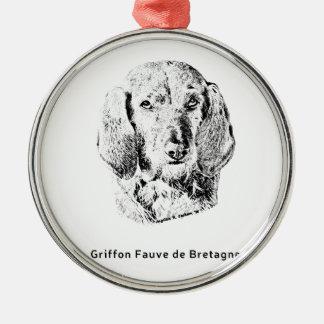 Griffon Fauve de Bretagne Drawing Metal Ornament