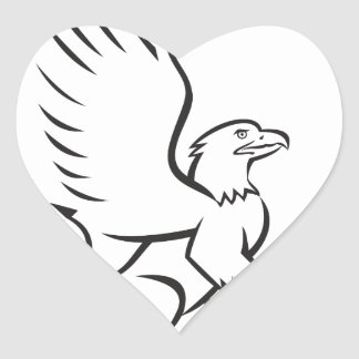 Griiffin Sitting Side Retro Heart Sticker
