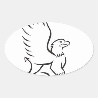 Griiffin Sitting Side Retro Oval Sticker