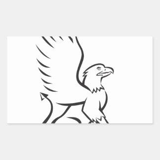 Griiffin Sitting Side Retro Rectangular Sticker