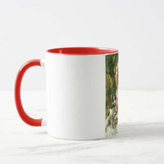Gril With Cherries Two Tone Mug