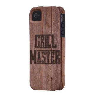 Grill Master BBQ Western Branding Iron on Wood iPhone 4 Case