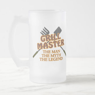 GRILL MASTER - THE MAN THE MYTH THE LEGEND FROSTED GLASS BEER MUG
