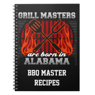 Grill Masters Are Born In Alabama Personalized Notebooks