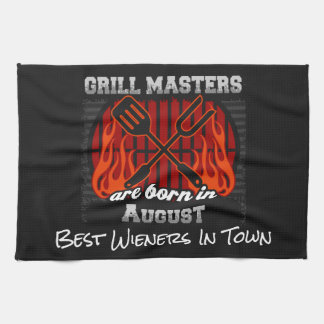 Grill Masters Are Born In August Add A Slogan Tea Towel