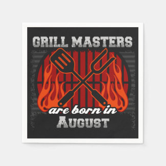 Grill Masters Are Born In August BBQ Birthday Paper Napkins