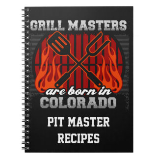 Grill Masters Are Born In Colorado Personalized Spiral Notebook