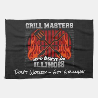 Grill Masters Are Born In Illinois Add A Slogan Tea Towel