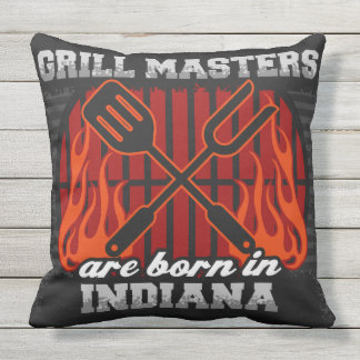 Grill Masters Are Born In Indiana Cushion