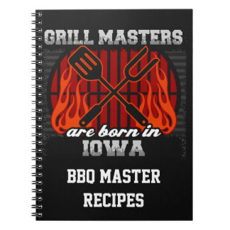 Grill Masters Are Born In Iowa Personalized Notebook