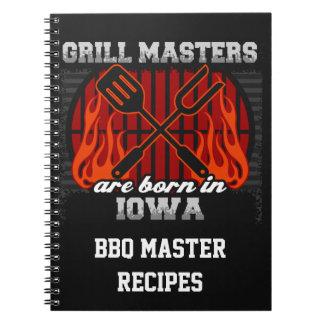 Grill Masters Are Born In Iowa Personalized Notebooks