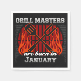 Grill Masters Are Born In January BBQ Birthday Disposable Serviettes