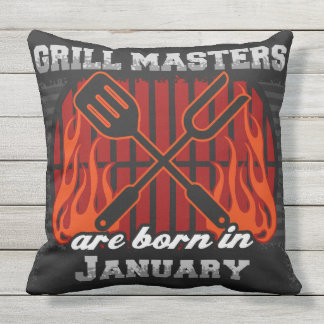 Grill Masters Are Born In January Cushion