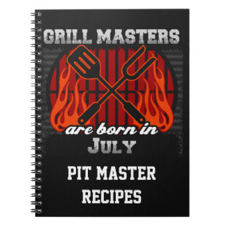 Grill Masters Are Born In July Personalized Notebook