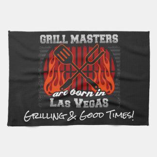 Grill Masters Are Born In Las Vegas Nevada Slogans Tea Towel