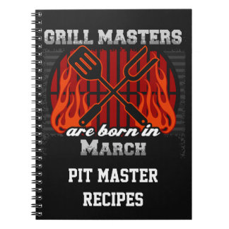 Grill Masters Are Born In March Personalized Notebook