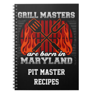 Grill Masters Are Born In Maryland Personalized Notebook