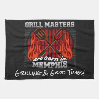 Grill Masters Are Born In Memphis Tennessee Tea Towel