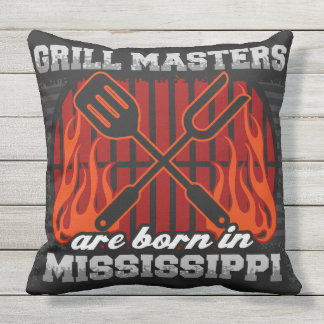 Grill Masters Are Born In Mississippi Outdoor Cushion
