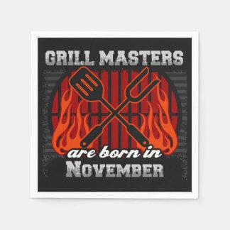 Grill Masters Are Born In November BBQ Birthday Disposable Serviette