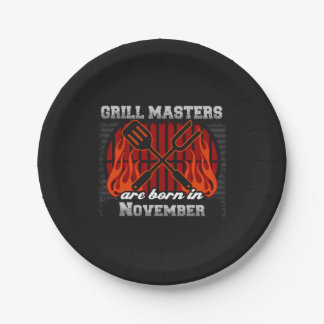 Grill Masters Are Born In November BBQ Birthday Paper Plate