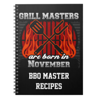 Grill Masters Are Born In November Personalized Notebook