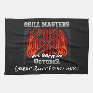 Grill Masters Are Born In October Add A Slogan Tea Towel