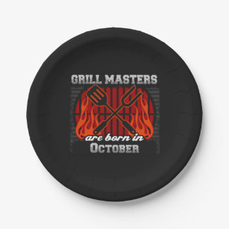 Grill Masters Are Born In October BBQ Birthday 7 Inch Paper Plate