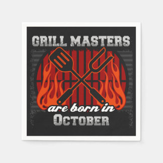Grill Masters Are Born In October BBQ Birthday Paper Serviettes