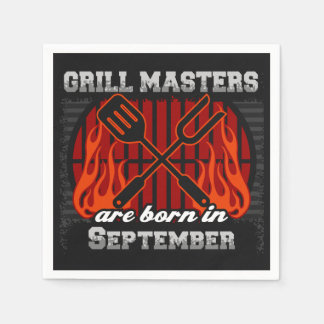 Grill Masters Are Born In September BBQ Birthday Paper Napkin