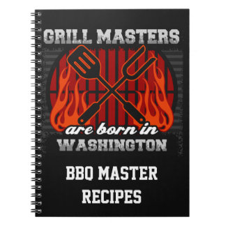 Grill Masters Are Born In Washington Personalized Spiral Notebook