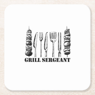 Grill Sergeant BBQ Grilling Hobby Funny  Men Women Square Paper Coaster
