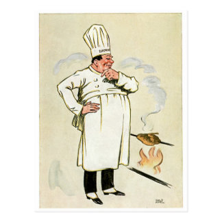 Grilled Chicken Chef Vintage Food Ad Art Post Card