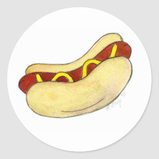 Grilled Fast Food Hot Dog Mustard on Bun Stickers