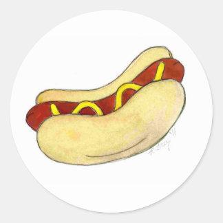 Grilled Fast Food Hot Dog Mustard Relish on Bun Classic Round Sticker