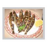 Grilled sardines postcard