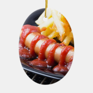 Grilled sausages and fried potato ceramic ornament