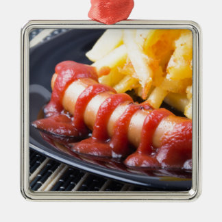 Grilled sausages and fried potato metal ornament